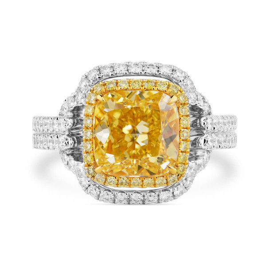 Fancy Light Yellow Diamond Ring, 3.41 Ct. (4.34 Ct. TW), Radiant shape, GIA Certified, 2195176959