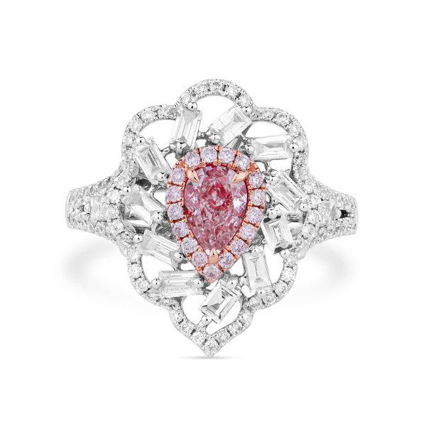 Very Light Pink Diamond Ring, 0.45 Ct. (1.40 Ct. TW), Pear shape, GIA Certified, 5191307870