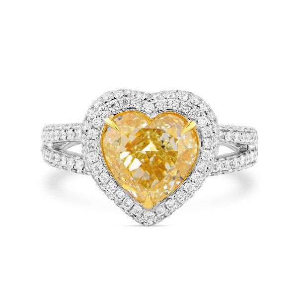 Light Yellow (U-V) Diamond Ring, 3.01 Ct. (3.89 Ct. TW), Heart shape, GIA Certified, 7276633780