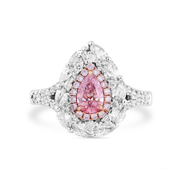 Faint Pink Diamond Ring, 1.68 Ct. TW, Pear shape, GIA Certified, 2244097367