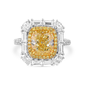 Fancy Light Yellow Diamond Ring, 3.23 Ct. (5.02 Ct. TW), Cushion shape, GIA Certified, 2195410425