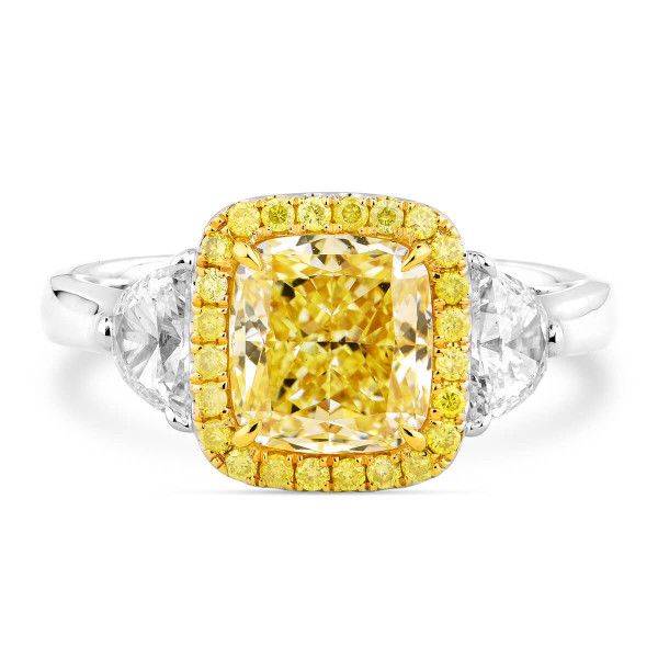 Light Yellow (Y-Z) Diamond Ring, 2.04 Ct. (2.73 Ct. TW), Cushion shape, GIA Certified, 6275277739