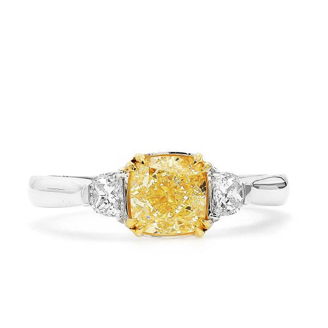 Fancy Light Yellow Diamond Ring, 1.23 Ct. (1.49 Ct. TW), Cushion shape, GIA Certified, 2195413358