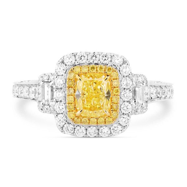 Fancy Intense Yellow Diamond Ring, 0.54 Ct. (1.59 Ct. TW), Cushion shape, GIA Certified, 2175855376
