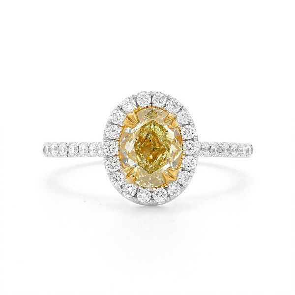 Fancy Yellow Diamond Ring, 1.10 Ct. (1.42 Ct. TW), Oval shape, GIA Certified, 2227852797