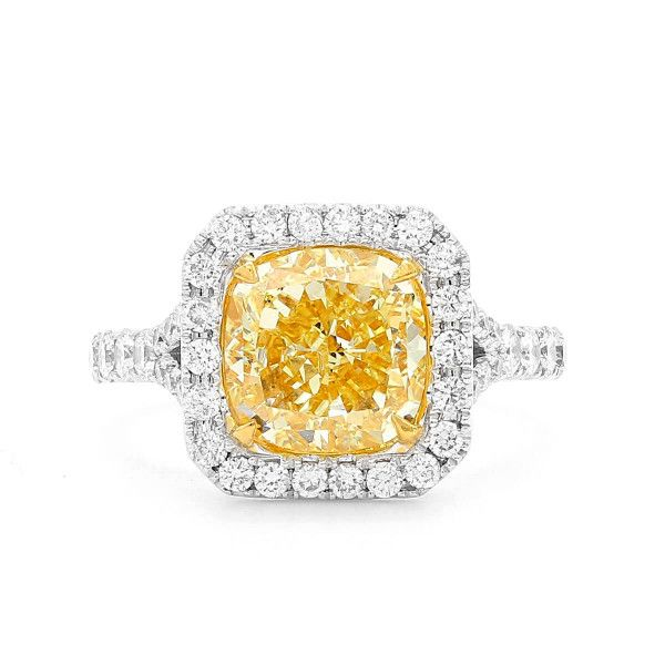 Fancy Yellow Diamond Ring, 3.28 Ct. (4.05 Ct. TW), Cushion shape, GIA Certified, 5182900543