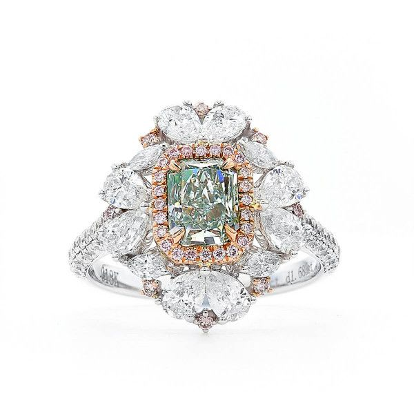 Fancy Light Green Diamond Ring, 2.77 Ct. TW, Radiant shape, GIA Certified, 1182237229