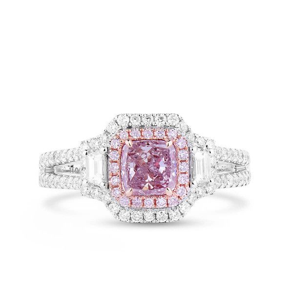 Fancy Purplish Pink Diamond Ring, 0.74 Ct. (1.36 Ct. TW), Cushion shape, GIA Certified, 2141895597