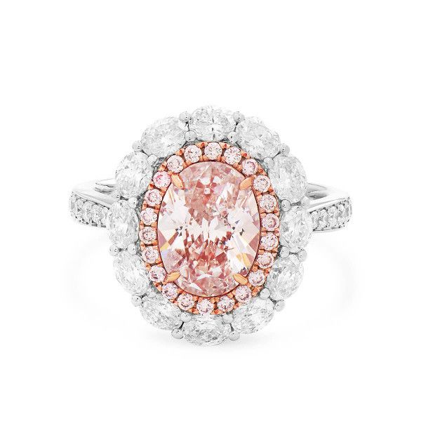 Light Pink Diamond Ring, 2.01 Ct. (3.50 Ct. TW), Oval shape, GIA Certified, 17492954