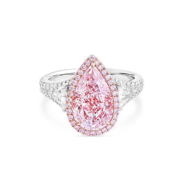 Faint Pink Diamond Ring, 3.34 Ct. (4.21 Ct. TW), Pear shape, GIA Certified, 2193885603