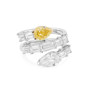 Fancy Intense Yellow Diamond Ring, 2.00 Ct. (4.22 Ct. TW), Pear shape, GIA Certified, JCRF05439174