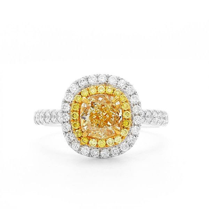 Fancy Light Yellow Diamond Ring, 1.29 Ct. (1.87 Ct. TW), Cushion shape, GIA Certified, 1199933060