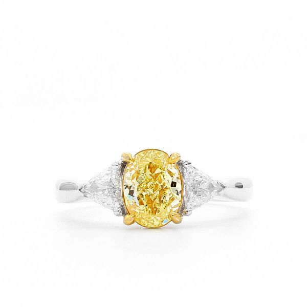 Fancy Intense Yellow Diamond Ring, 1.27 Ct. (1.63 Ct. TW), Oval shape, GIA Certified, 5166079570