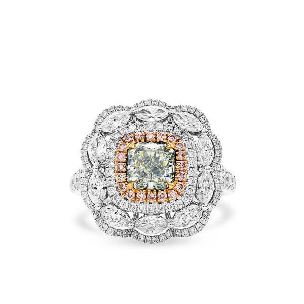 Fancy Light Bluish Green Diamond Ring, 1.02 Ct. (2.52 Ct. TW), Radiant shape, GIA Certified, 1142299692