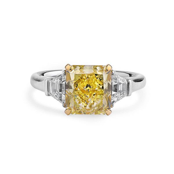 Fancy Yellow Diamond Ring, 3.02 Ct. (3.65 Ct. TW), Radiant shape, GIA Certified, 2101741267