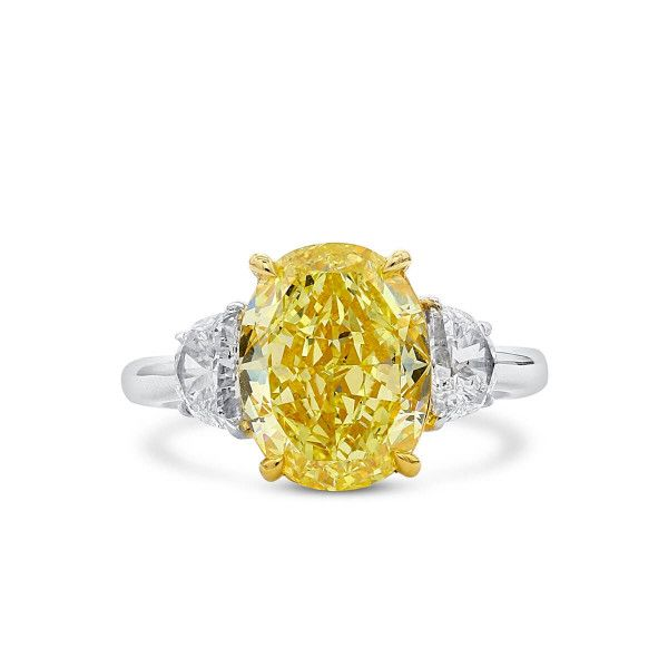 Fancy Vivid Yellow Diamond Ring, 5.03 Ct. (5.90 Ct. TW), Oval shape, GIA Certified, 5201151885