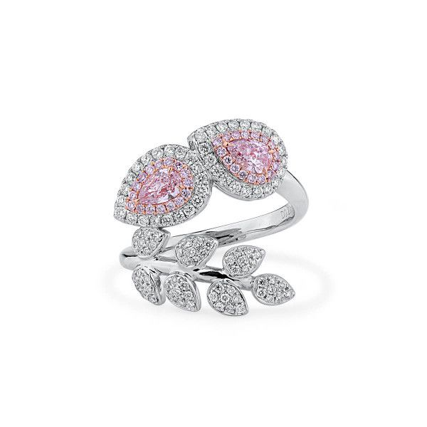 Faint Pink Diamond Ring, 0.41 Ct. (1.02 Ct. TW), Pear shape, GIA Certified, JCRF05458114