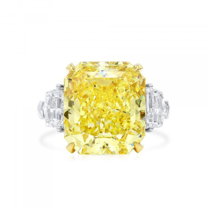 Fancy Vivid Yellow Diamond Ring, 16.59 Ct. (18.96 Ct. TW), Radiant shape, GIA Certified, JCRF05463322