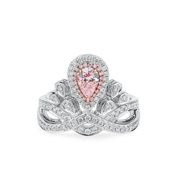 Faint Pink Diamond Ring, 0.51 Ct. (0.97 Ct. TW), Pear shape, GIA Certified, 5191930863