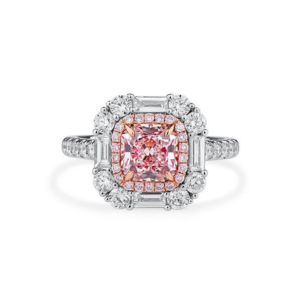 Faint Pink Diamond Ring, 1.37 Ct. (2.51 Ct. TW), Radiant shape, GIA Certified, 5201044771