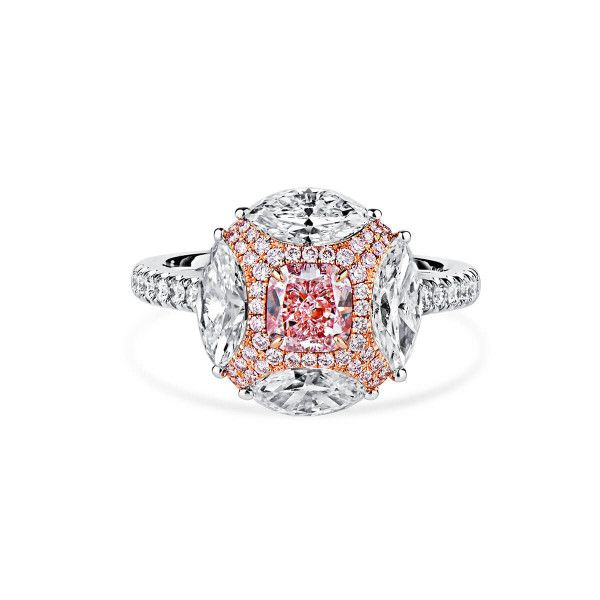 Fancy Light Pinkish Purple Diamond Ring, 0.71 Ct. (2.74 Ct. TW), Cushion shape, GIA Certified, 2205310391