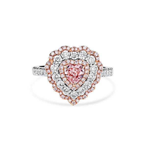 Light Pink Diamond Ring, 0.51 Ct. (1.32 Ct. TW), Heart shape, GIA Certified, 7308160570