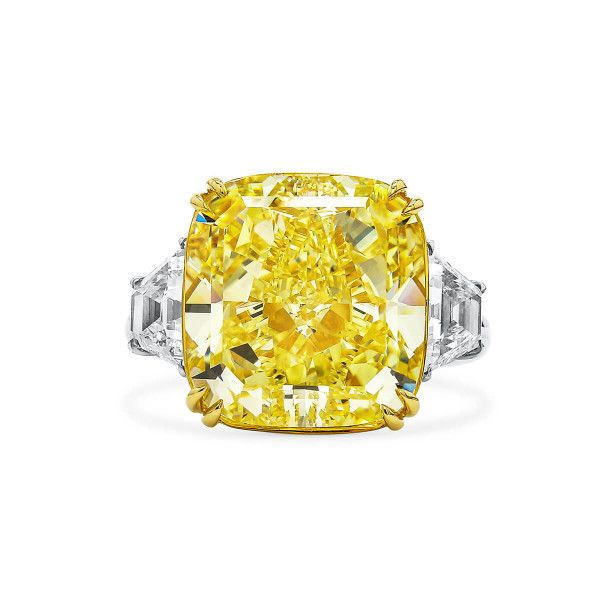 Fancy Intense Yellow Diamond Ring, 16.16 Ct. (17.59 Ct. TW), Cushion shape, GIA Certified, 2183203116