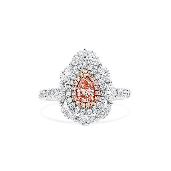 Fancy Orangy Pink Diamond Ring, 0.28 Ct. (1.44 Ct. TW), Pear shape, GIA Certified, 1205461677