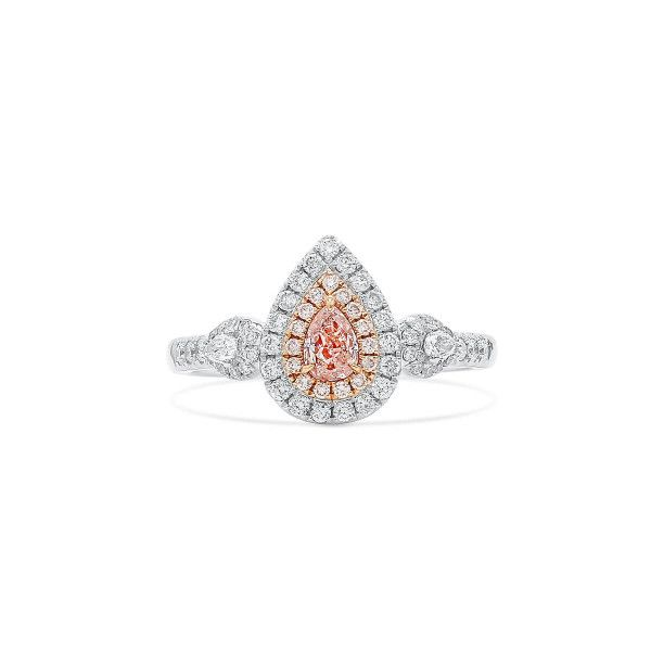 Fancy Light Orangy Pink Diamond Ring, 0.24 Ct. (0.69 Ct. TW), Pear shape, GIA Certified, 6193307879