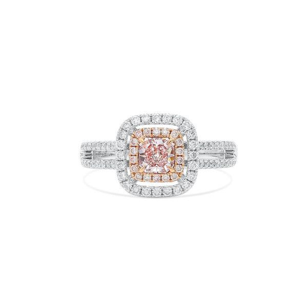 Fancy Light Brownish Pink Diamond Ring, 0.42 Ct. (0.88 Ct. TW), Radiant shape, GIA Certified, 6285882775