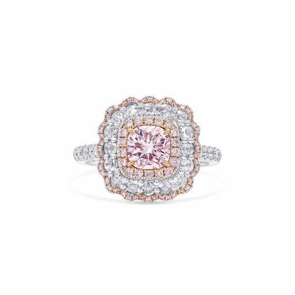 Faint Pink Diamond Ring, 0.90 Ct. (1.57 Ct. TW), Cushion shape, GIA Certified, 6305977608
