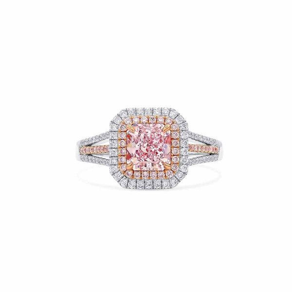 Very Light Pink Diamond Ring, 1.02 Ct. (1.40 Ct. TW), Radiant shape, GIA Certified, 5202587248