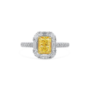 Fancy Intense Yellow Diamond Ring, 1.27 Ct. (2.12 Ct. TW), Radiant shape, GIA Certified, 1196398332