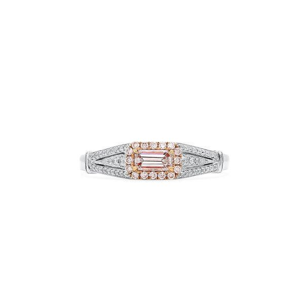 Faint Pink Diamond Ring, 0.21 Ct. (0.40 Ct. TW), Emerald shape, GIA Certified, 2195926169