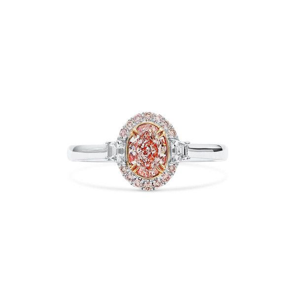 Light Pink Diamond Ring, 0.71 Ct. (0.99 Ct. TW), Oval shape, GIA Certified, 6345151382