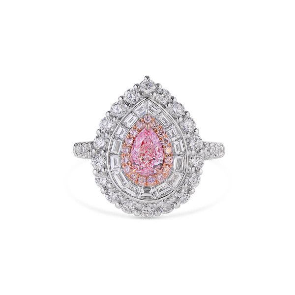 Very Light Pink Diamond Ring, 0.56 Ct. (2.18 Ct. TW), Pear shape, GIA Certified, 6345048750