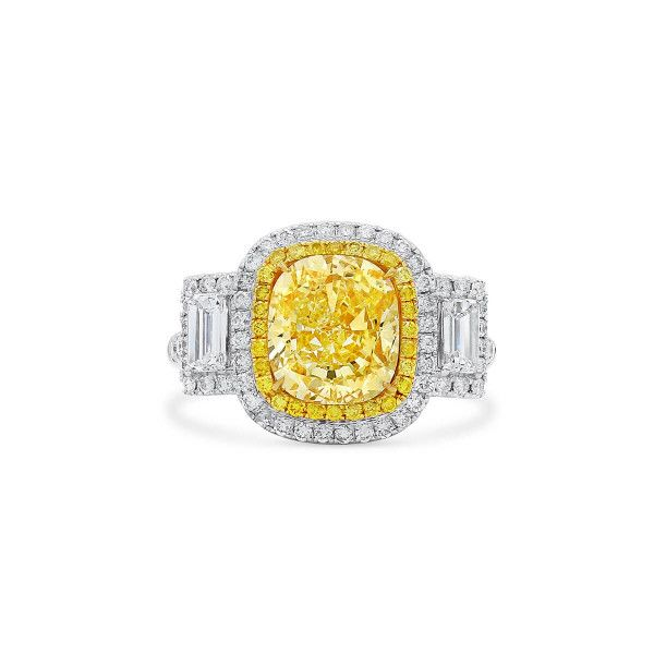 Fancy Light Yellow Diamond Ring, 3.15 Ct. (4.29 Ct. TW), Cushion shape, GIA Certified, 2205760289