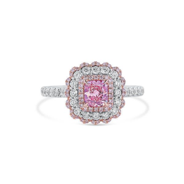 Very Light Pink Diamond Ring, 0.61 Ct. (1.23 Ct. TW), Radiant shape, GIA Certified, 6332725415