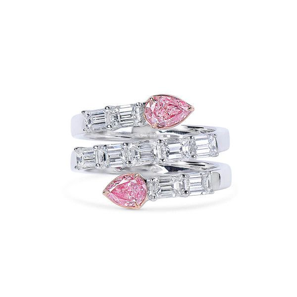 Very Light Pink Diamond Ring, 0.69 Ct. (2.55 Ct. TW), Pear shape, GIA Certified, JCRF05495587