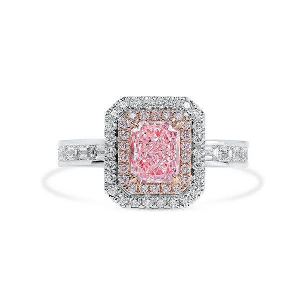 Very Light Pink Diamond Ring, 0.86 Ct. (2.05 Ct. TW), Radiant shape, GIA Certified, 5201938580