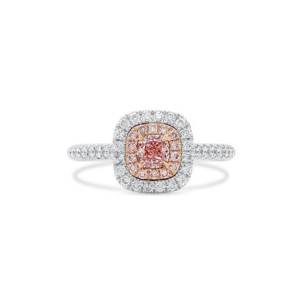Fancy Light Orangy Pink Diamond Ring, 0.32 Ct. (0.73 Ct. TW), Cushion shape, GIA Certified, 1298273084