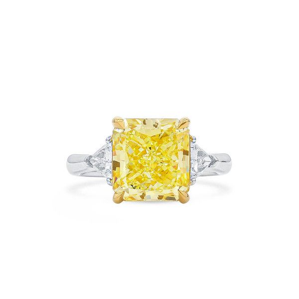 Light Yellow (Y-Z) Diamond Ring, 5.01 Ct. (5.41 Ct. TW), Radiant shape, GIA Certified, 6197229150