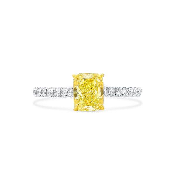 Fancy Yellow Diamond Ring, 1.12 Ct. (1.34 Ct. TW), Radiant shape, GIA Certified, 6217465991