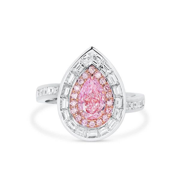Very Light Pink Diamond Ring, 0.84 Ct. (2.31 Ct. TW), Pear shape, GIA Certified, 6341093726