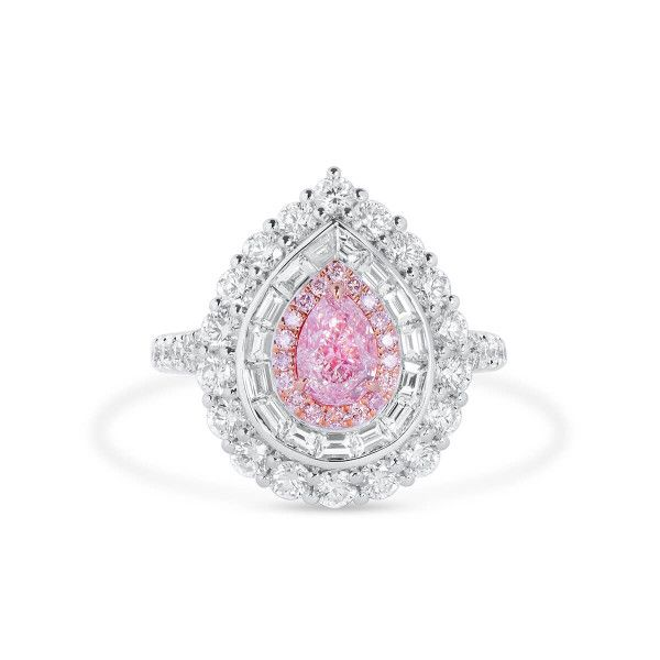 Very Light Pink Diamond Ring, 0.70 Ct. (2.48 Ct. TW), Pear shape, GIA Certified, 7362541590