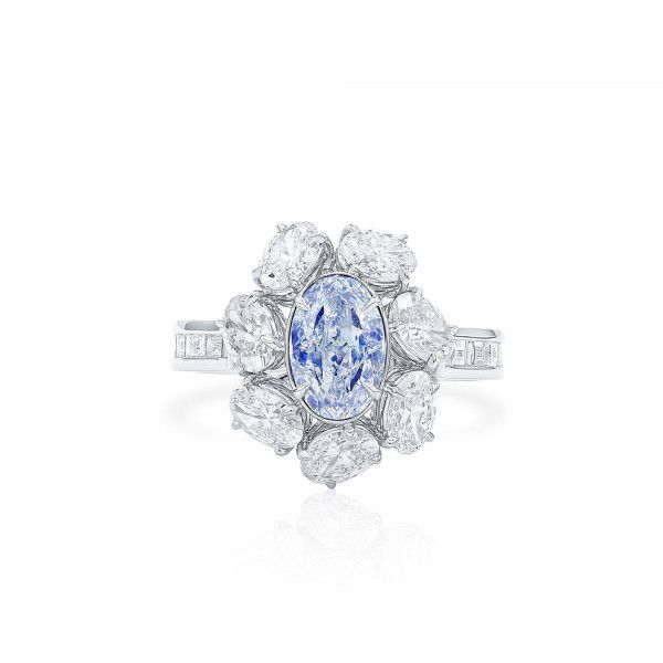 Very Light Blue Diamond Ring, 1.19 Ct. (3.18 Ct. TW), Oval shape, GIA Certified, 6365419903