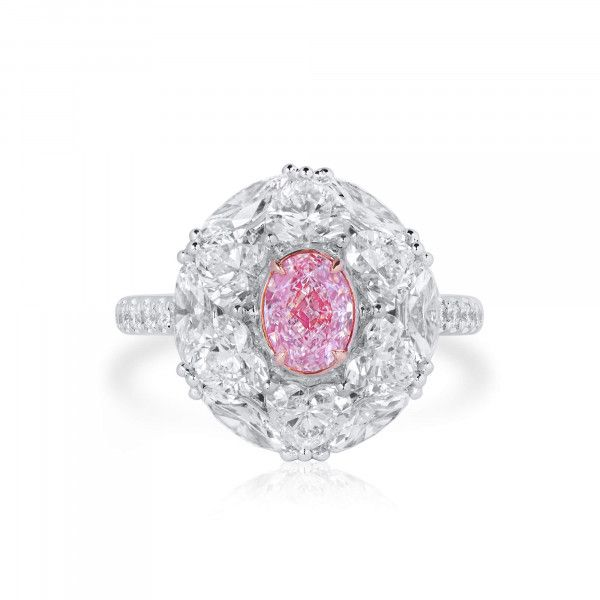 Very Light Pink Diamond Ring, 0.74 Ct. (4.19 Ct. TW), Oval shape, GIA Certified, 2366215696