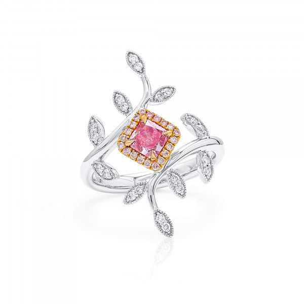 Very Light Pink Diamond Ring, 0.43 Ct. (0.70 Ct. TW), Radiant shape, GIA Certified, 2215246372