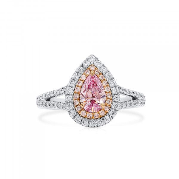 Light Pink Diamond Ring, 0.53 Ct. (0.95 Ct. TW), Pear shape, GIA Certified, 7258705390