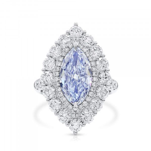 Light Blue Diamond Ring, 2.29 Ct. (4.86 Ct. TW), Marquise shape, GIA Certified, 16407773